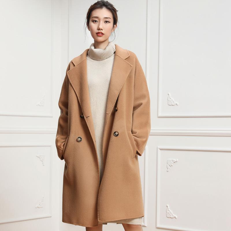 蒂克罗姆双面羊绒大衣女中长款冬季毛呢外套双面呢大衣2019年新款