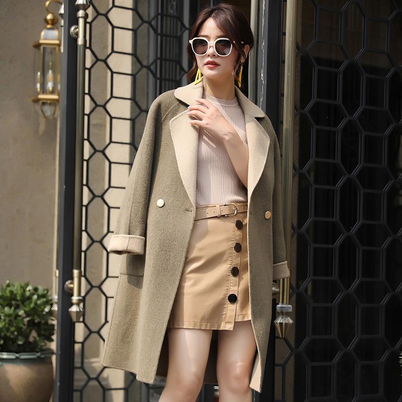 蒂克罗姆秋冬季新款纯色西装领双面呢羊毛大衣女修身保暖韩版外套