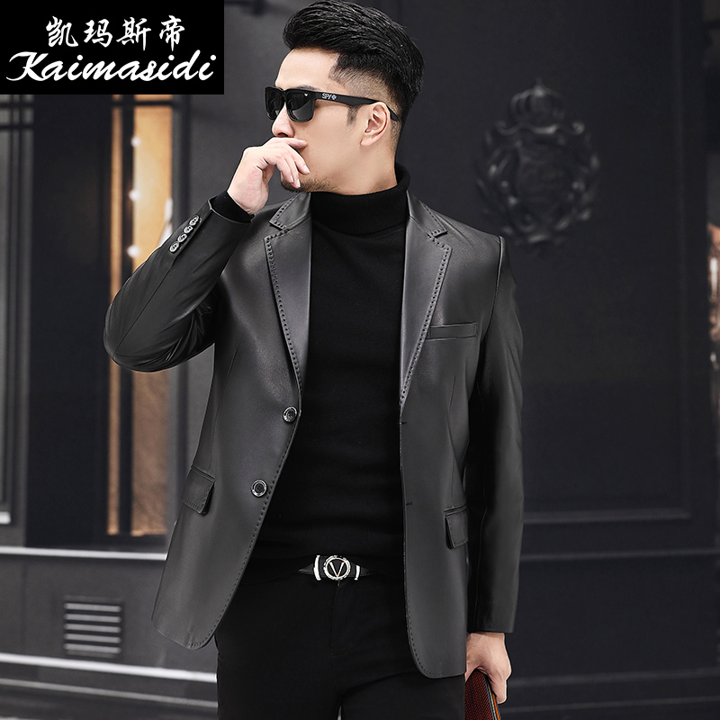 Genuine leather leather spring and autumn middle-aged leather suit men's sheep leather jacket Slim thin small suit Haining jacket tide