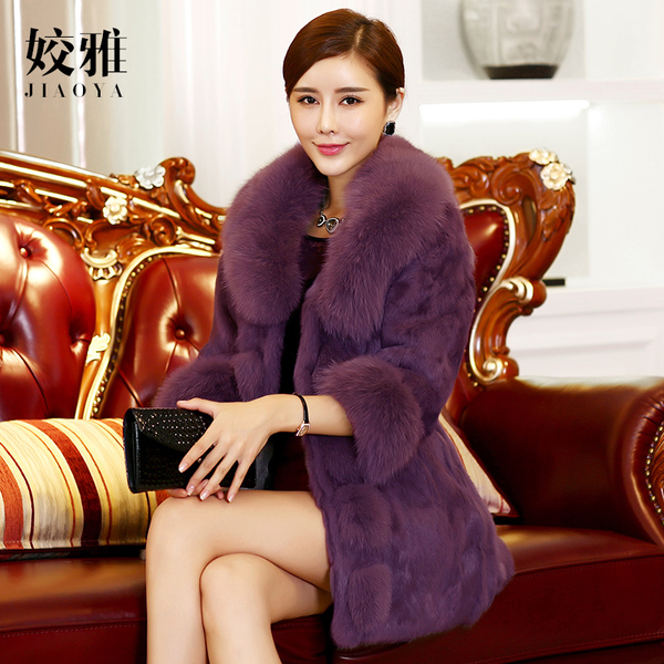 Long sections fox fur collar the whole skin rabbit fur coat middle-aged mother dress women's 2017 winter-season clearance
