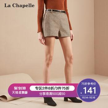 拉夏贝尔格子短裤春季韩版宽松直筒裤百搭休闲裤学生打底裤子女款