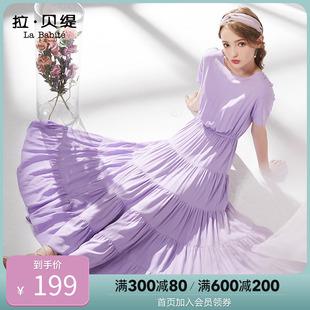 中长款 收腰雪纺智熏裙法式 蛋糕连衣裙2020夏季 少女装 桔梗裙子 新款