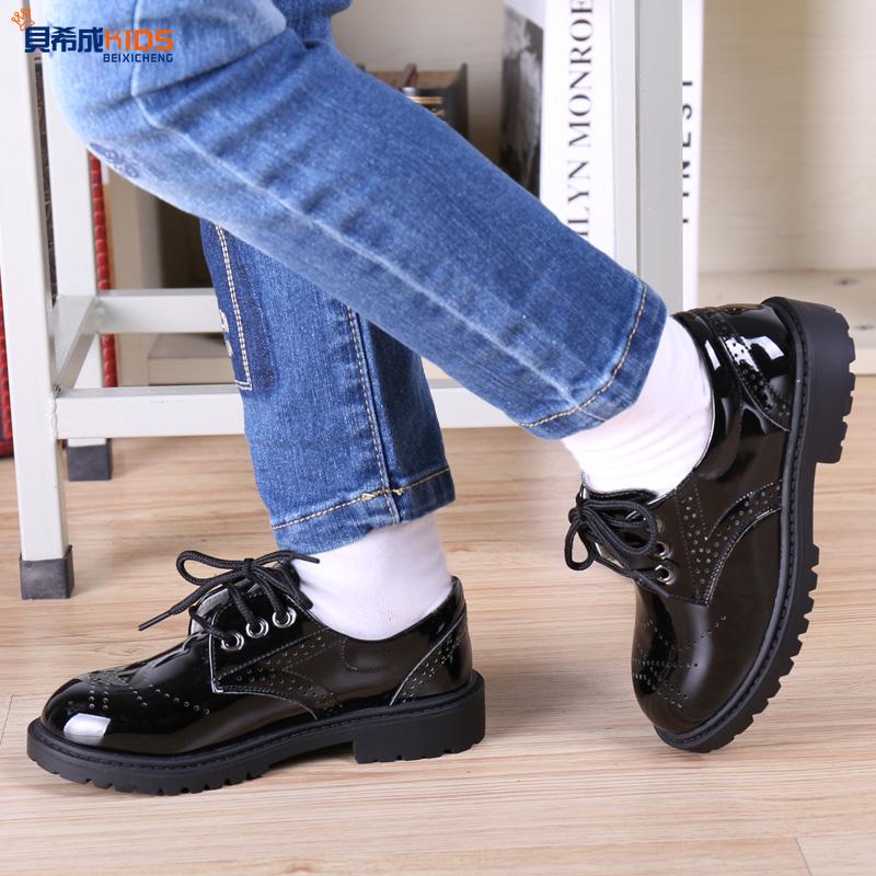 2016 new children shoes boys shoes, glossy patent leather black strap shoe show shoes, children dress shoes