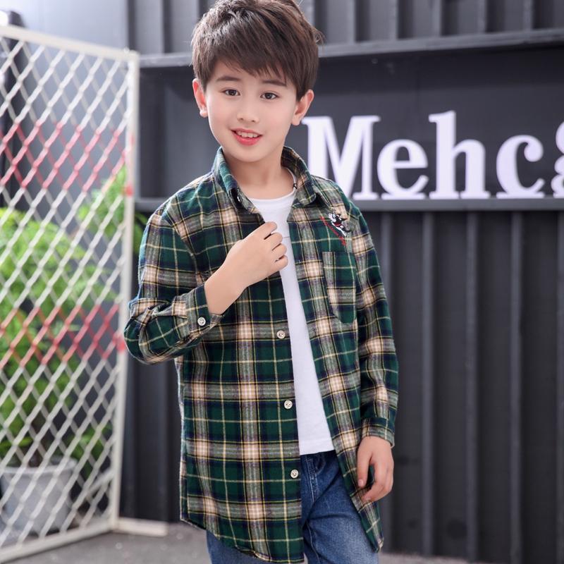 2020 new childrens clothing spring and autumn wear boys long sleeved cotton shirt Plaid Shirt Medium Size boys shirt trend