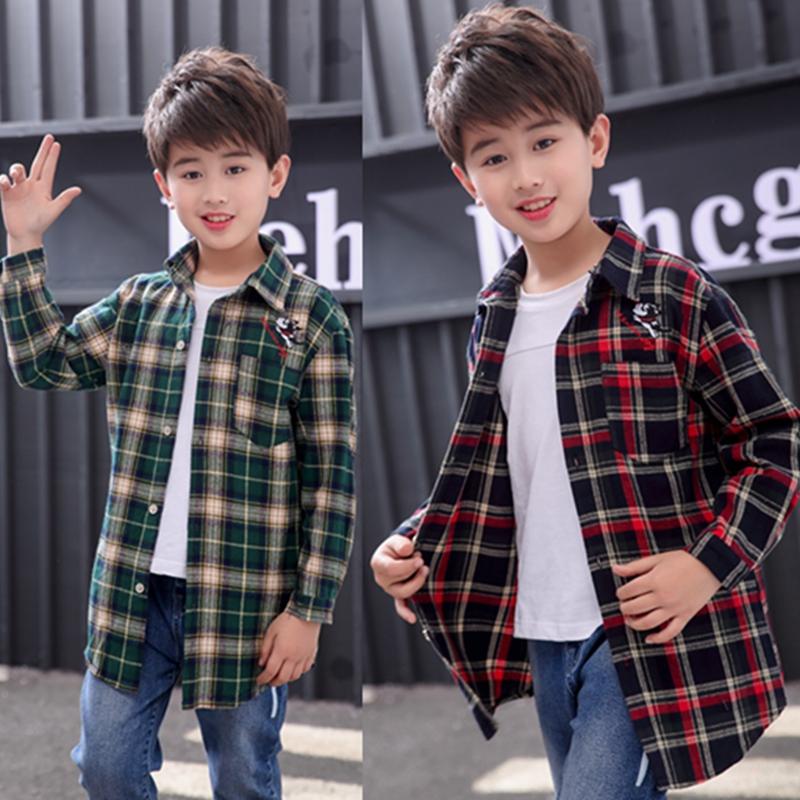 Boys childrens shirt 2020 new spring childrens check shirt boys middle and big childrens spring Korean fashion clothes