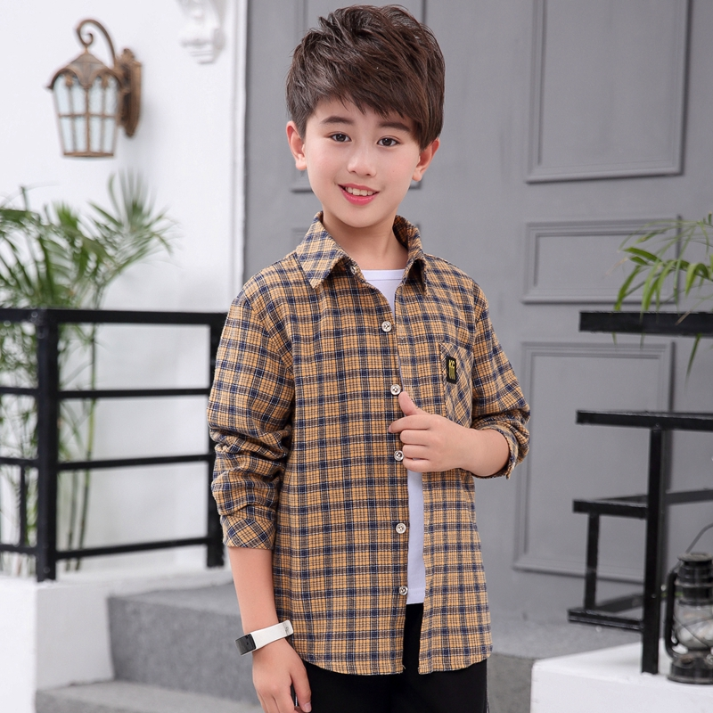 2019 new childrens clothes middle school childrens boys long sleeve shirt spring clothes childrens Plaid Shirt Boys spring and autumn fashion clothes