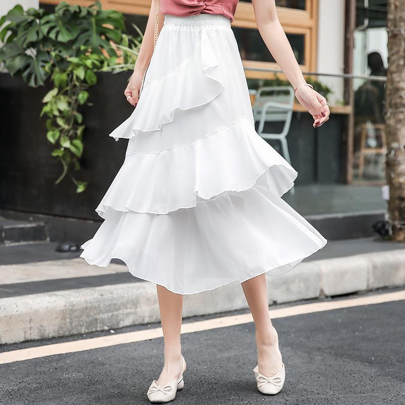 半身裙白色蛋糕裙