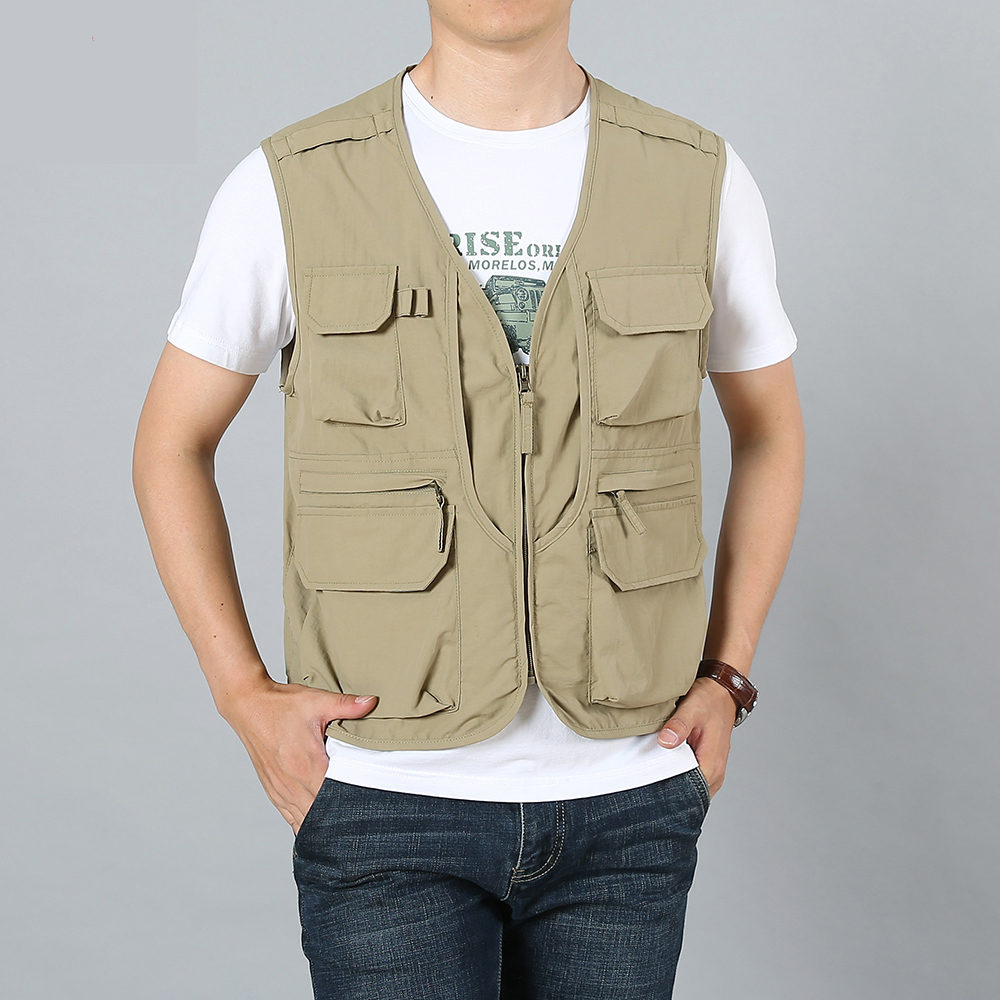 Fishing vest men's multi-pocket tooling jocket vest custom summer multi-function outdoor casual photography work clothes