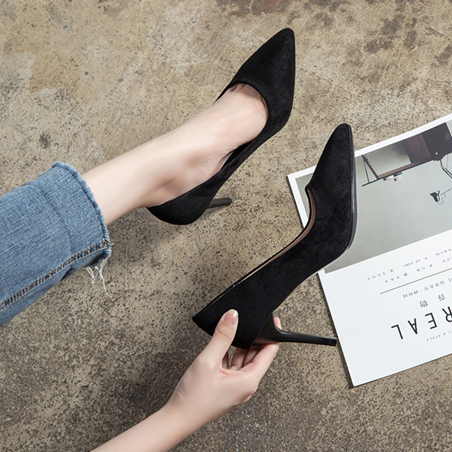 French small high heels fall 2020 new versatile girls professional work shoes pointy black student stiletto shoes