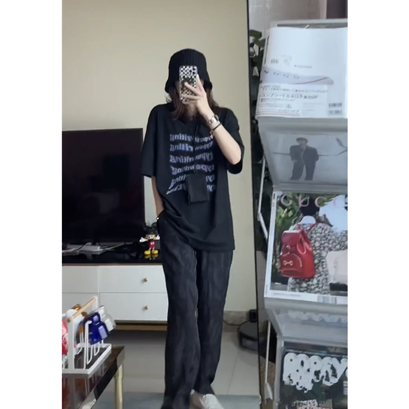 Seven奶奶裤 黑色直筒裤女夏薄款宽松显瘦高腰垂感休闲雪纺裤4lee