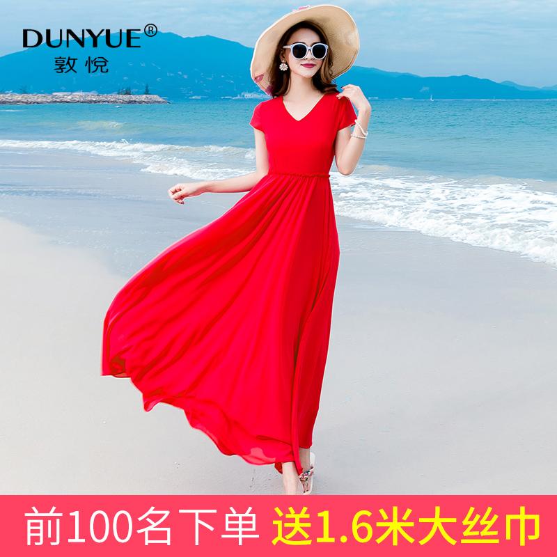 红色雪纺连衣裙女2019新款巴厘岛长款气质长裙海边度假沙滩裙超仙