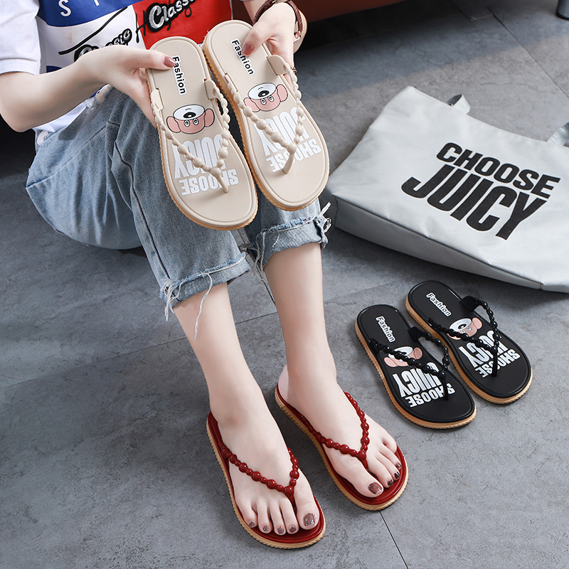 Fashion cartoon Korean anti slip flip flops for women to wear students beach shoes