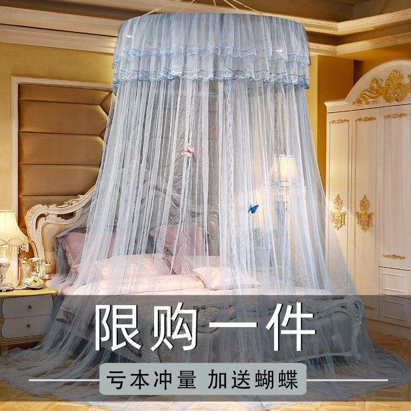 圆顶蚊帐吊顶1.8米1.5m纹账家用夏季公主单人床上1加密1.2免安装2