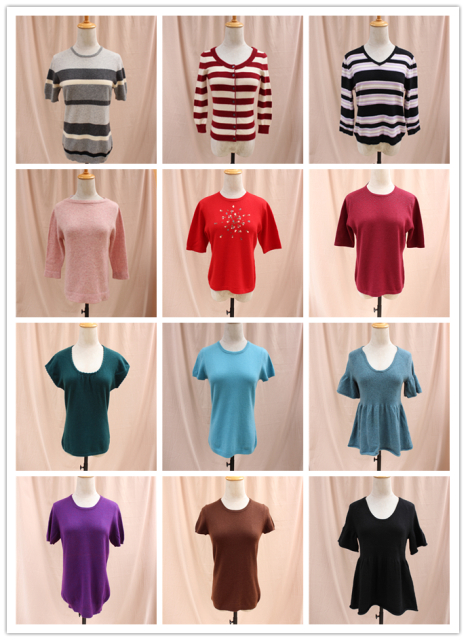 Short sleeve round neck Pullover simple bottom cashmere sweater for women keep warm in autumn and winter cashmere