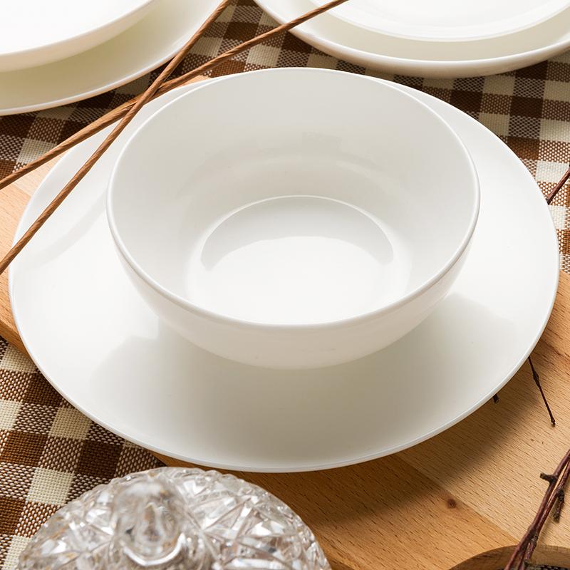 隆達骨瓷 純白韓式圓潤型5.5英寸麵碗2隻 麵湯碗中餐具結婚禮