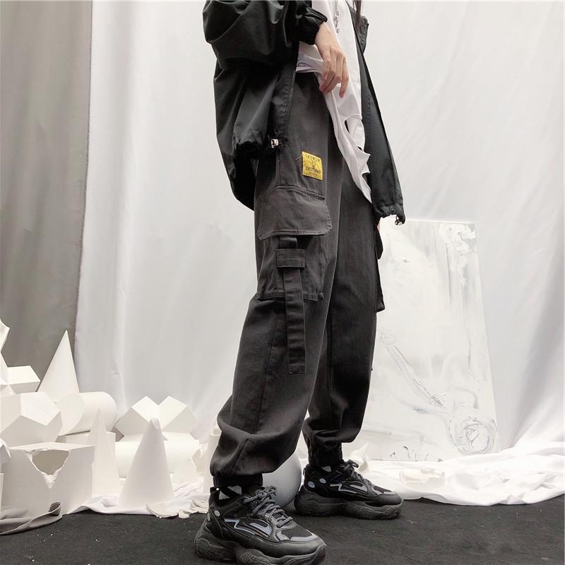 韩版ins原宿风裤子街头贴布工装飘带束脚裤宽松高腰休闲裤男女潮