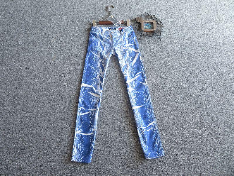 高端 意大利制JUSTCAVALLI色彩张扬蛇纹纹理个性弹力牛仔裤