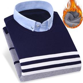 力豆·力豆冬季男士衬衫领假两件毛衣