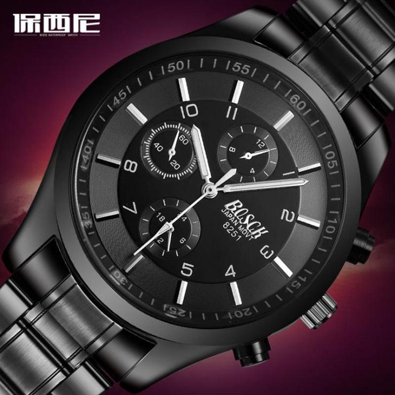 正品时尚潮流男士手表运动精钢带男表皮带防水学生石英表机械腕表