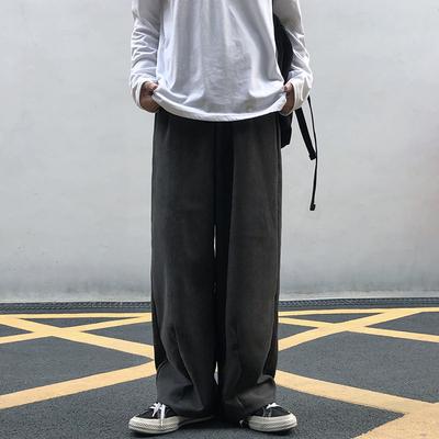 妈个鸡妈 韩国ins日系百搭宽松直筒抽绳垂感阔腿工装休闲裤男女潮