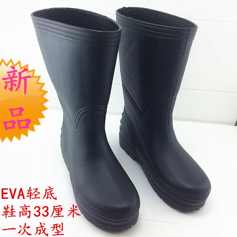 新品单雨鞋防滑一次成型一体泡沫防水鞋男女厚底高筒雨靴钓鱼EVA