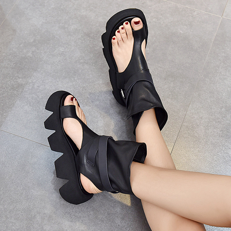 Roman shoes open toe thick soled sandals 2021 spring and summer versatile belt buckle back empty leisure retro toe high top sandals
