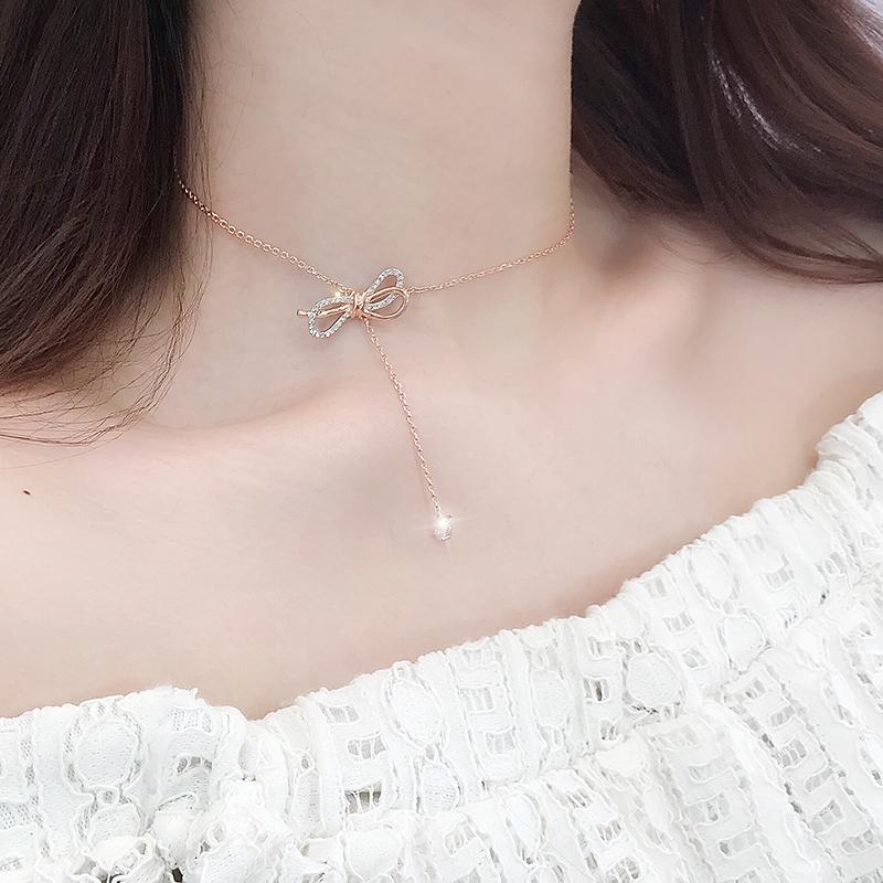 [今天是粥几项链]蝴蝶结项链女S925纯银锁骨链玫瑰金月销量390件仅售56元