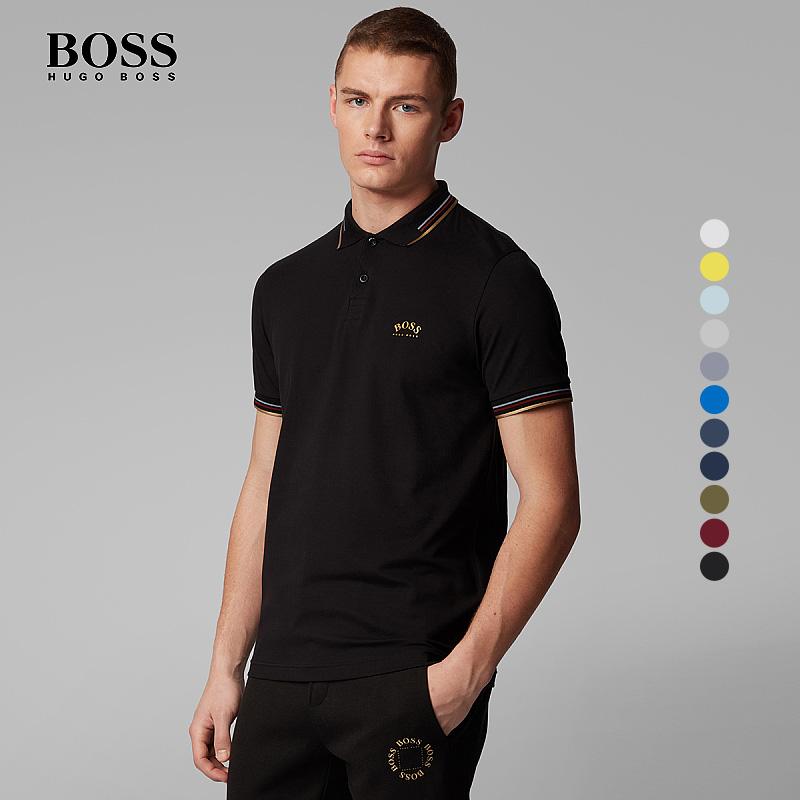HUGO BOSS雨果博斯男士款夏季舒适弹力珠地布商务Polo衫短袖上衣
