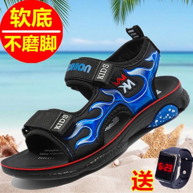 夏季新款回力男童凉鞋中大童软底防滑儿童沙滩鞋男孩小学生皮面男