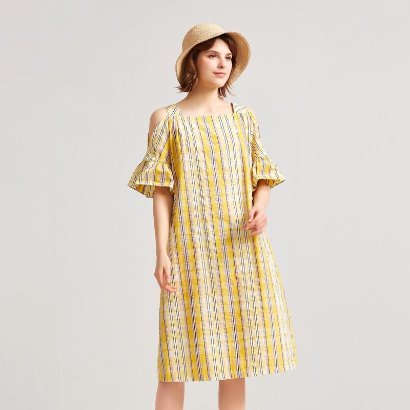 飞鸟和新酒夏装新款棉混纺连衣裙