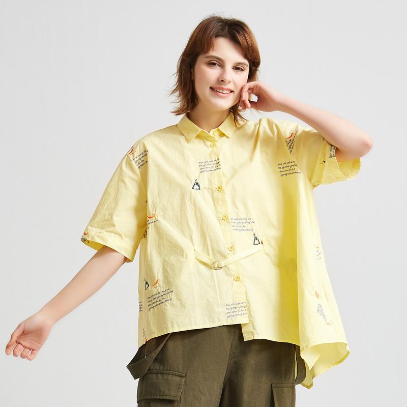 飞鸟和新酒夏装新款女装短款衬衫