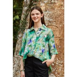 飞鸟和新酒条纹衬衫女2021夏季新款中袖翻领泡泡袖显瘦通勤上衣