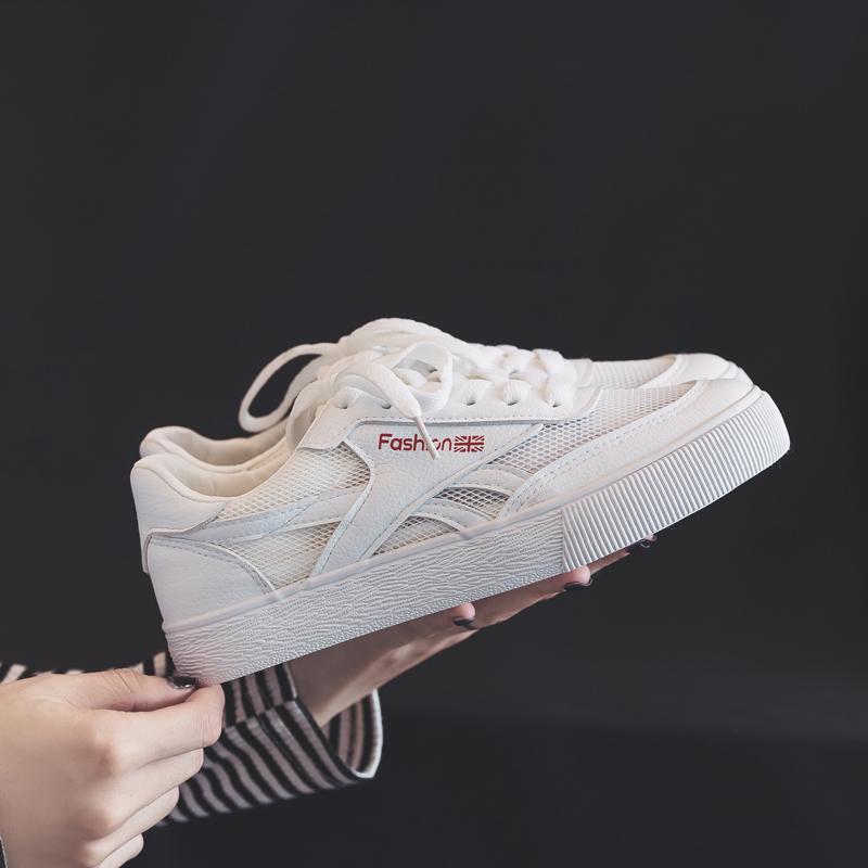 小白鞋女夏季2018新款百搭韩版系带秋季平底厚底网面透气帆布鞋