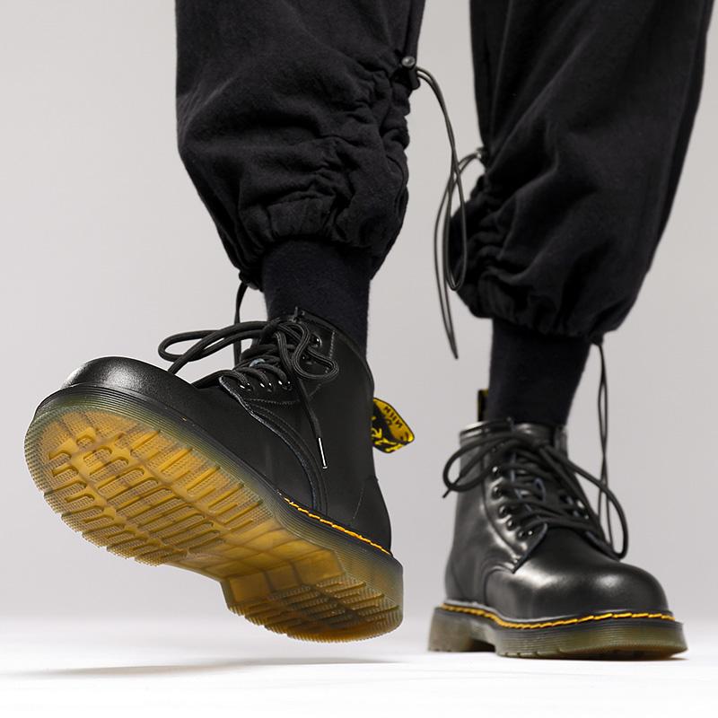 马丁靴男高帮冬季加绒男士黑色中帮英伦风真皮短靴子工装靴男鞋潮