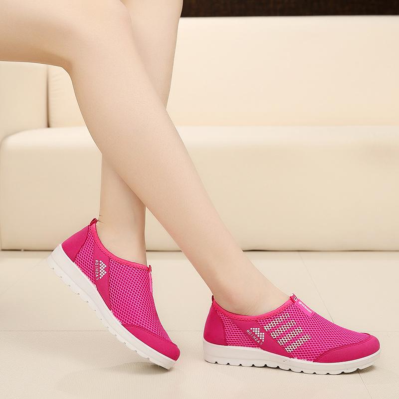 春夏季老北京布鞋网面鞋女鞋透气运动时尚中老年休闲鞋软底平低鞋