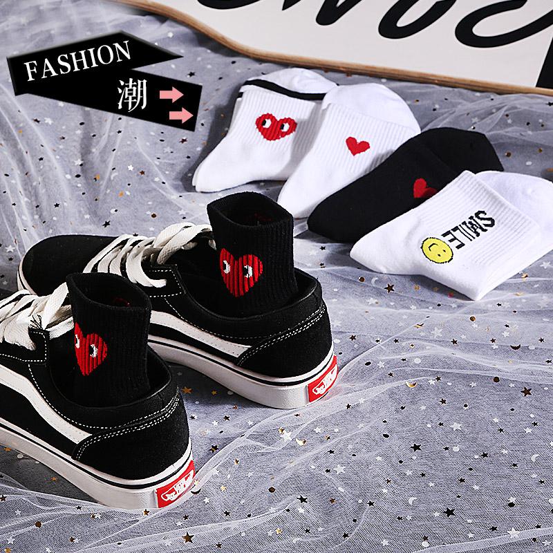 5双装袜子女中筒欧美街头嘻哈原宿风长袜韩国ins枫叶个性字母潮袜11月28日最新优惠