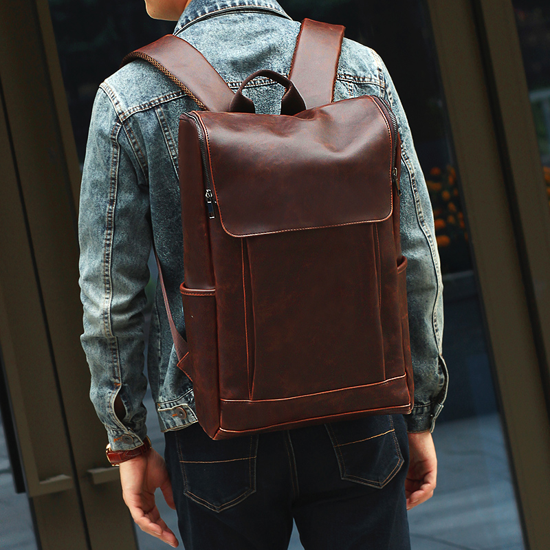 Original Crazy Horse Leather Backpack retro manual leather mens backpack one shoulder slanting travel computer bag college style