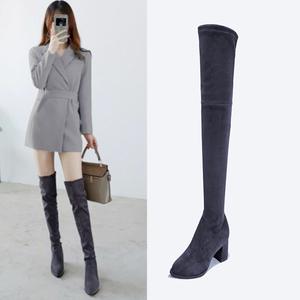 领5元券购买女2019新款冬天高筒弹力瘦腿长筒靴