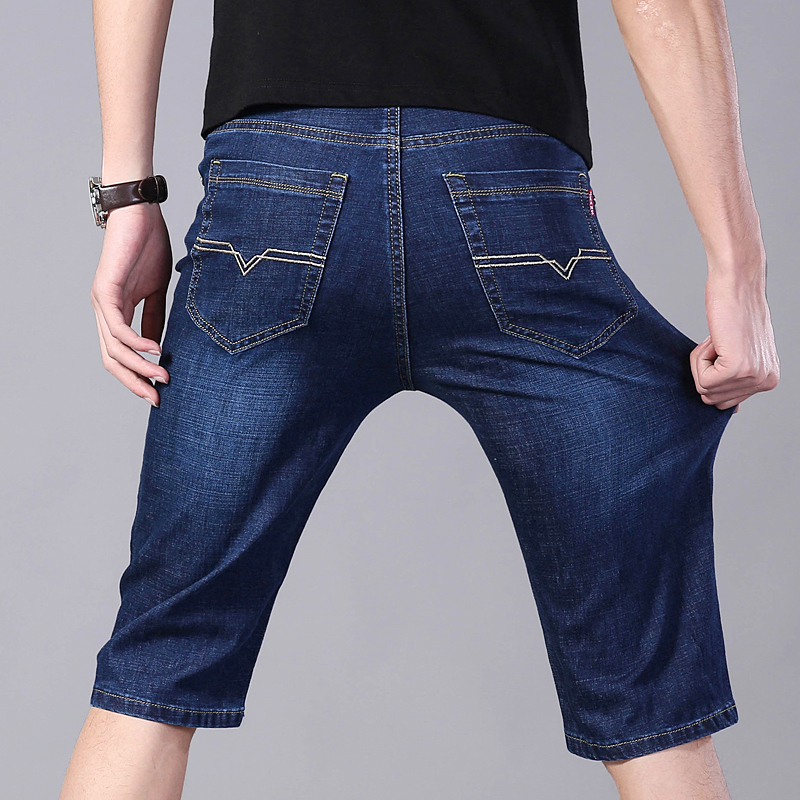 Low waist 5-point jeans mens summer SLIM STRAIGHT pants mens loose elastic casual shorts