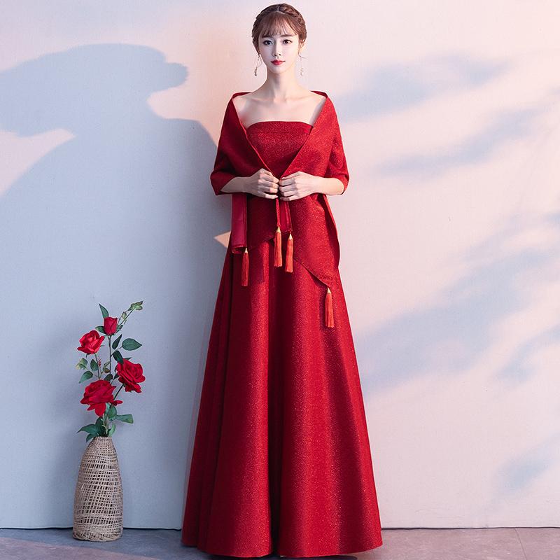 敬酒服新娘2021新款性感气质名媛抹胸红色结婚披肩宴会晚礼服裙女