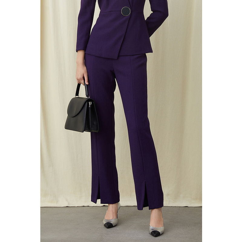 Song of song new spring products purple pure wool High Waist Wide Leg Trousers woolen trousers