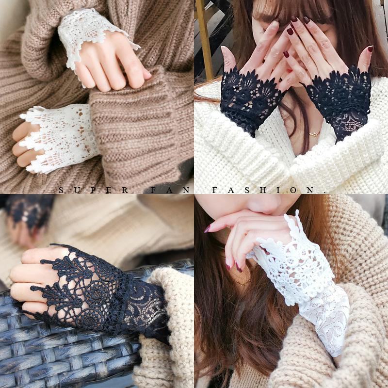 蕾丝袖套女秋季薄款半指手套短款春秋护腕手腕套韩版遮疤痕假袖子