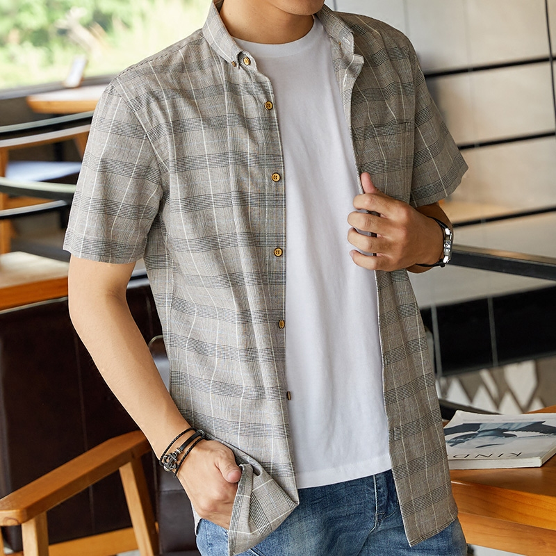 休闲格子衬衫男短袖韩版夏季男士纯棉修身半袖衬衣新款帅气寸衫潮