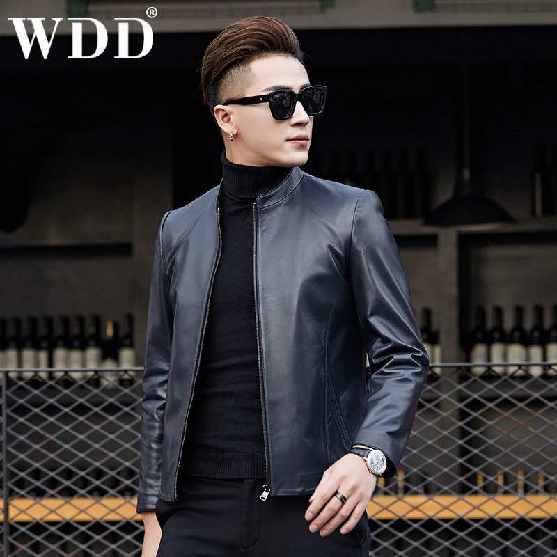 2021 Haining leather leather men's sheep tied car jacket short set collar repair Korean version of Chaochun autumn coat