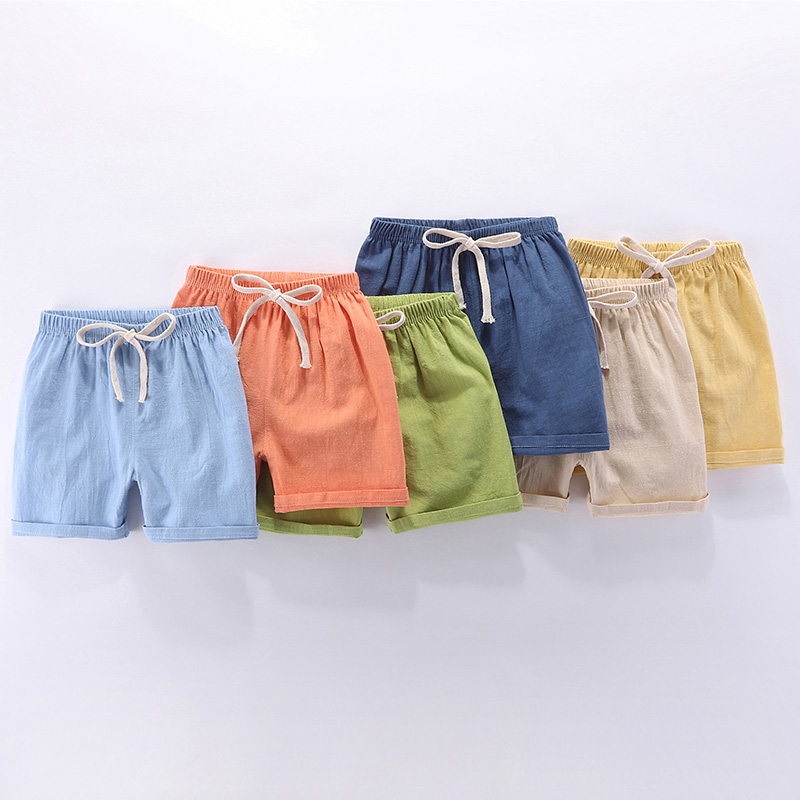 Boys shorts pure cotton childrens casual pants pure color home pants summer thin womens sleeping Pants Cotton hemp