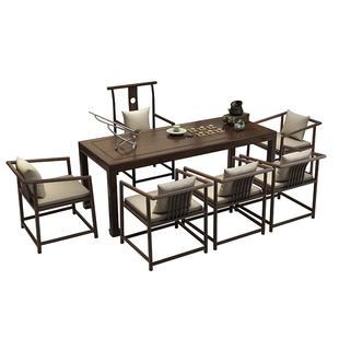 新中式實木茶桌椅組合辦公室茶室茶台簡約現代禪意功夫泡茶茶道桌