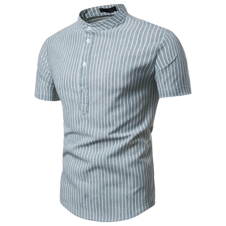 2019夏季新款 条纹休闲套头男款短袖衬衫9711-35