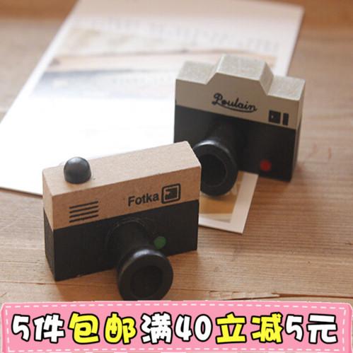 特价 优惠 韩国创意bentoy 原木 复古小照相机图案印章 2款