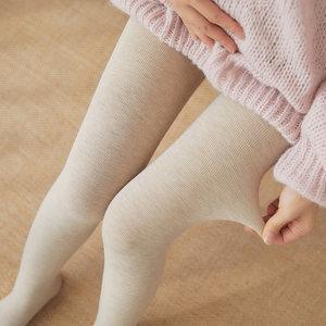 孕妇托腹袜纯棉竖条纹秋冬季加绒连裤袜踩脚连脚袜子燕麦色打底裤