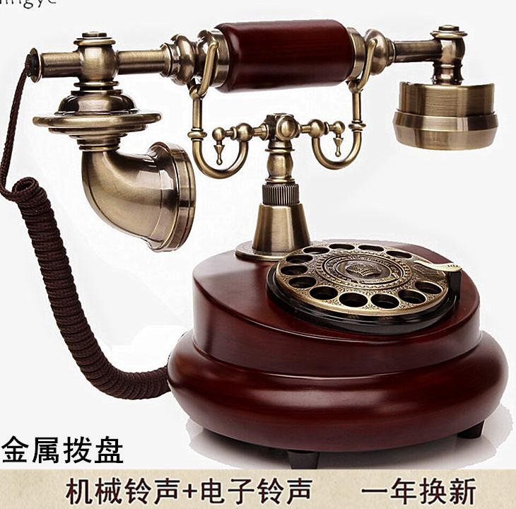 頂爺 老式旋轉盤電話仿古歐式田園複古電話機家用座機辦公固話